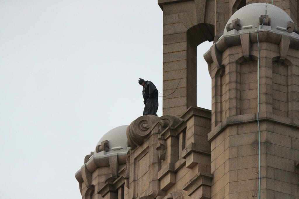 Batman on the roofs of the Liver Building