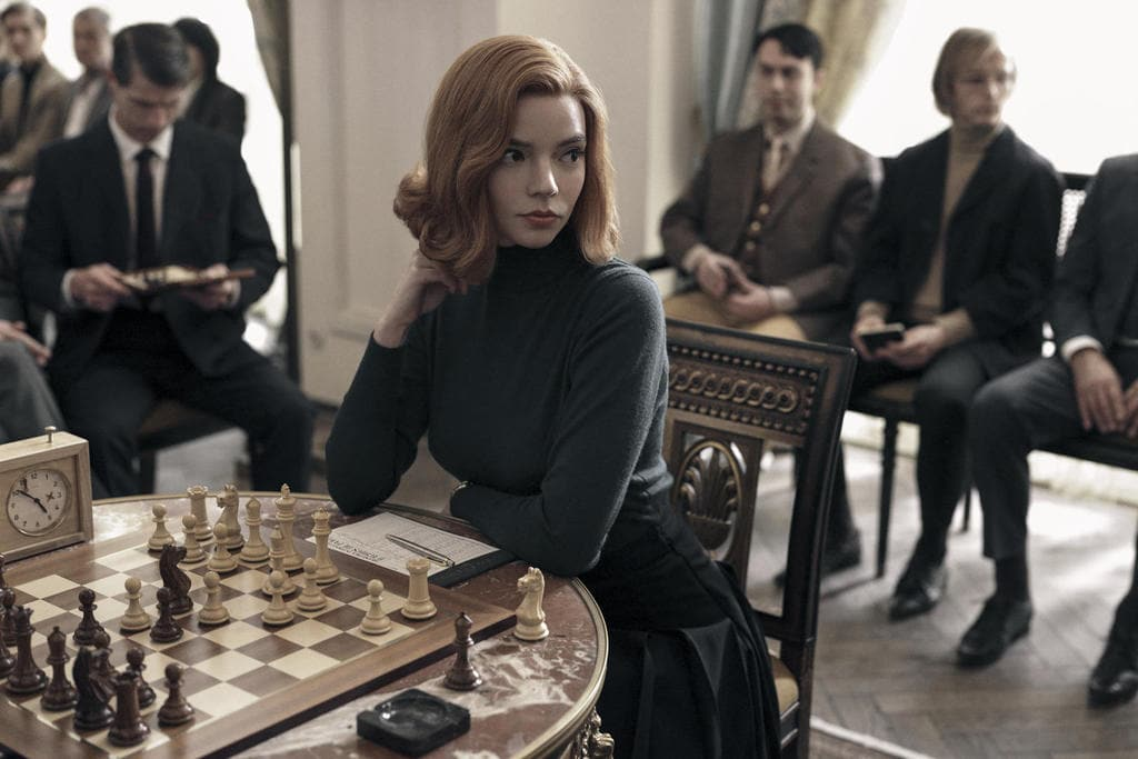 The Queen's Gambit, Beth Harmon (played by Anya Taylor-Joy) during a chess game