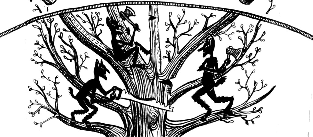 A depiction of goblins wreaking havoc on a tree