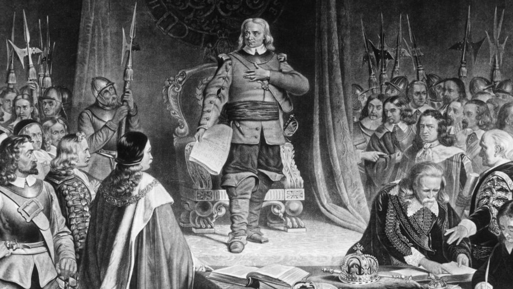 A depiction of Oliver Cromwell and the puritans banning Christmas