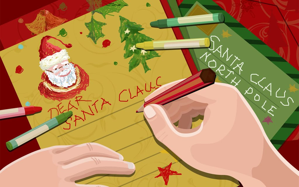 A depiction of a letter to Santa