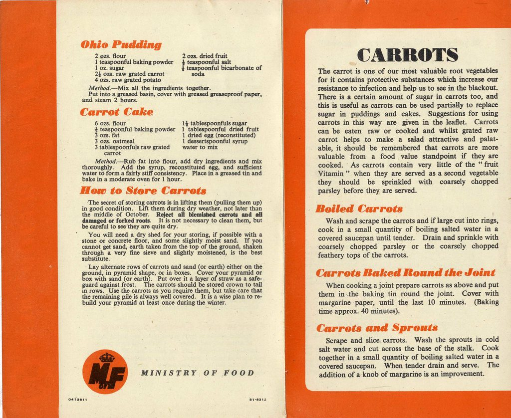 An excerpt from the Ministry of Food's booklet full of affordable, easy carrot-based recipes published during World War II