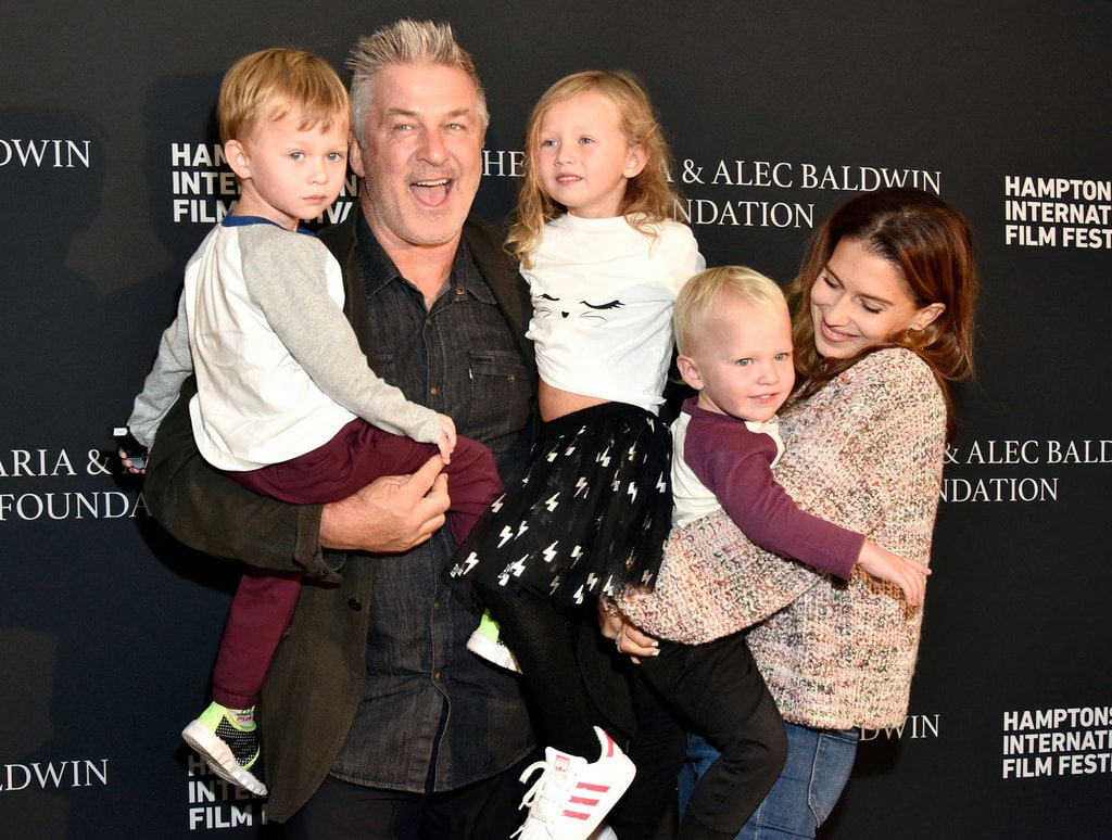 Hilaria and Alec Baldwin with 3 of their children.