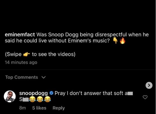 Snoop Dogg's comment on Instagram