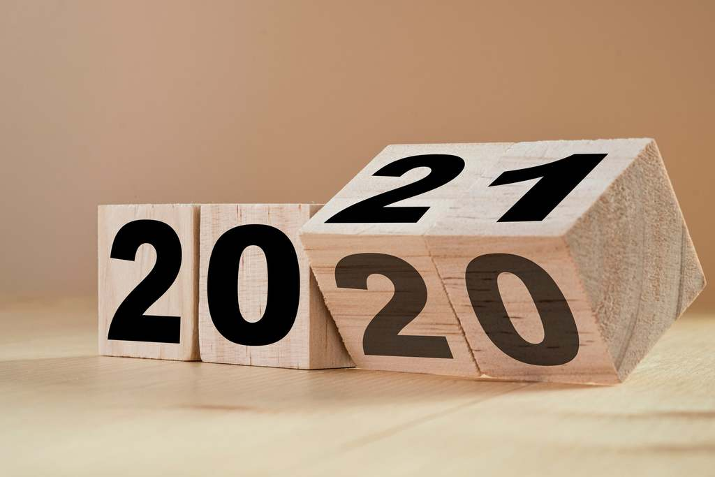 2020 turning 2021 wooden dice - celebrating these holidays