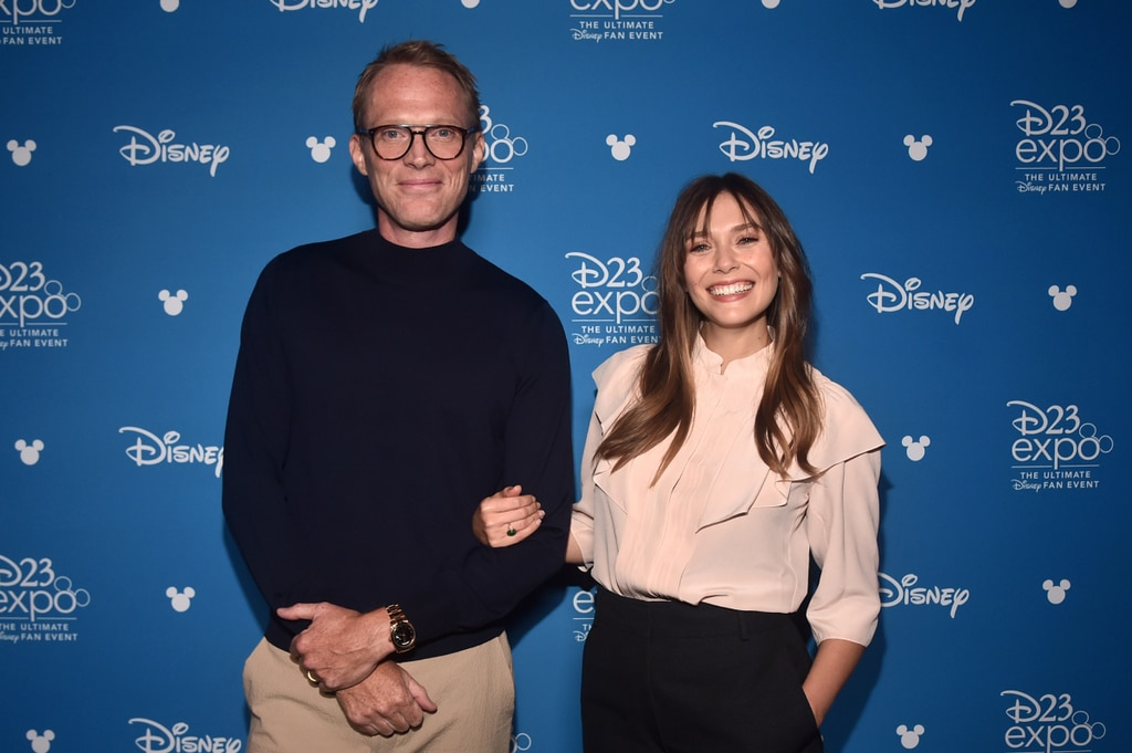 Paul Bettany (Vision) and Elizabeth Olsen (Wanda) during a promo event